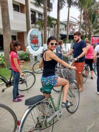 Biking to the bamboo boats