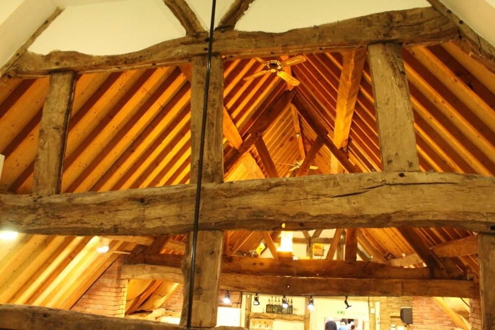 wooden beams farm shop