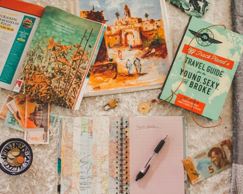 Travel planning flatlay
