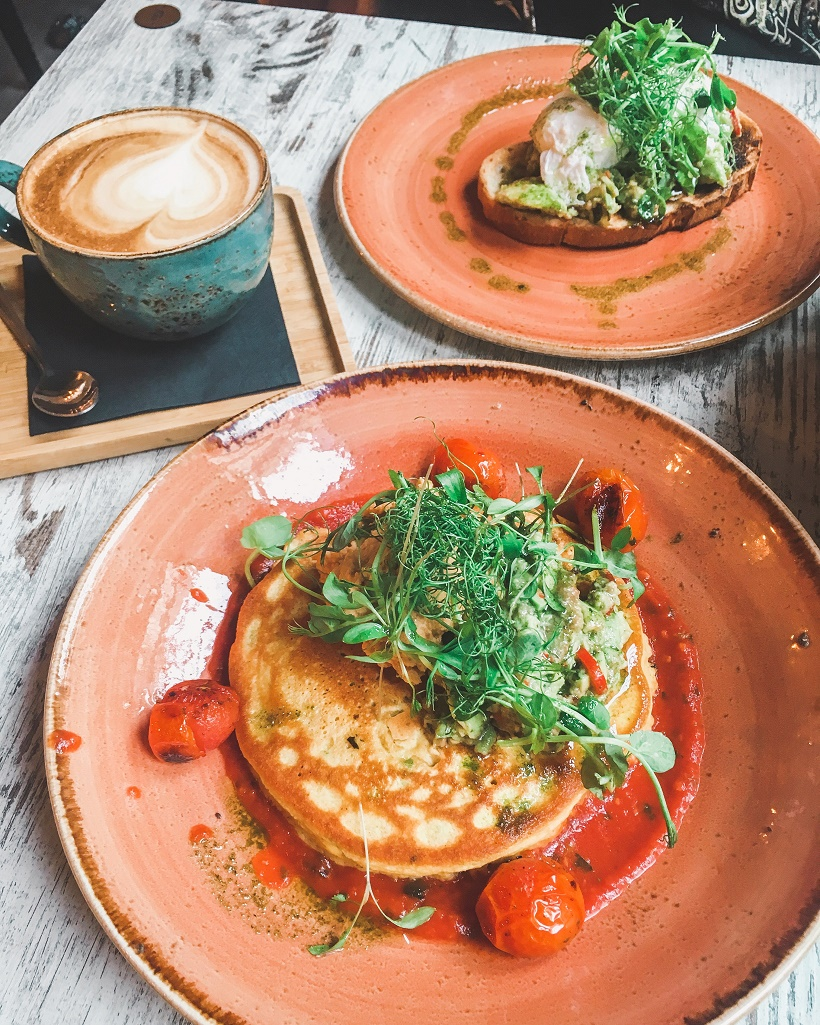Love Thy Neighbour brunch: chickpea pancake and coffee
