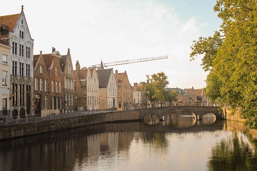 Bruges canal sunset