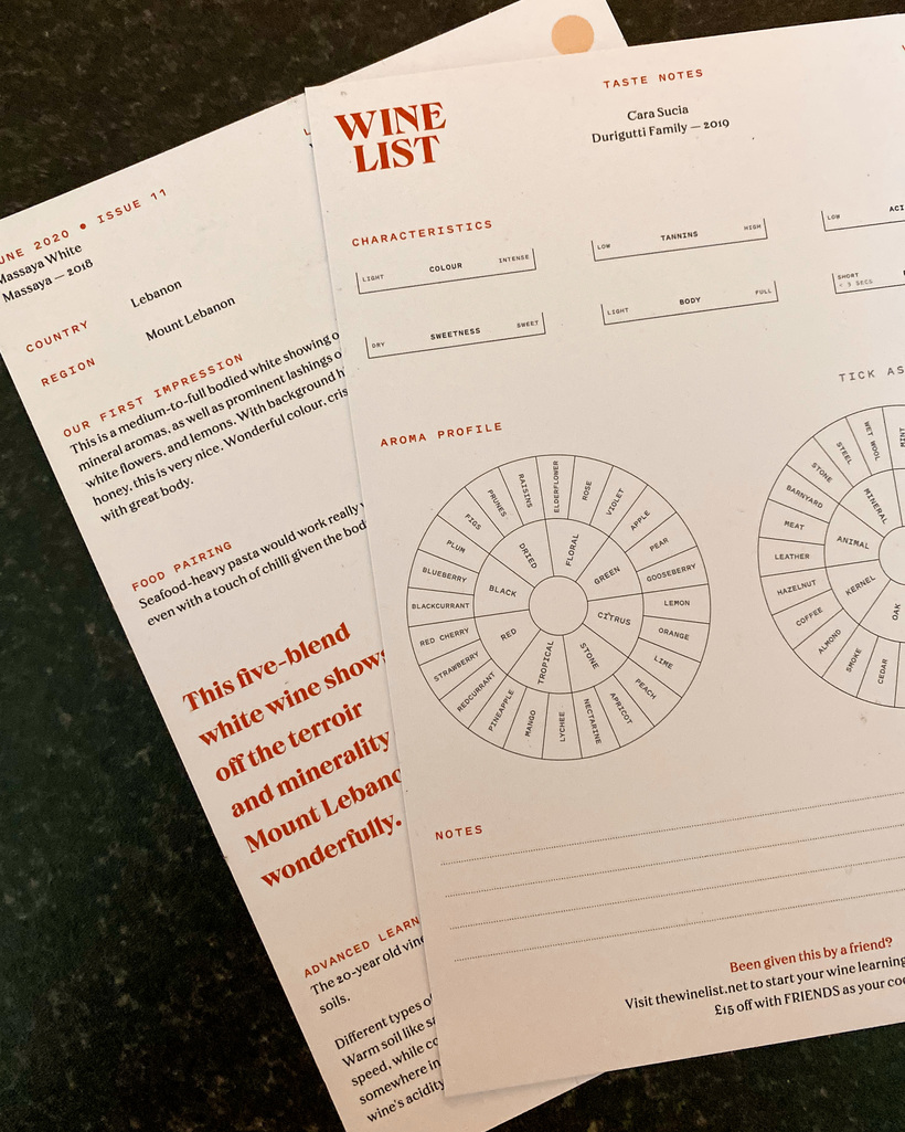 The Wine List tasting cards