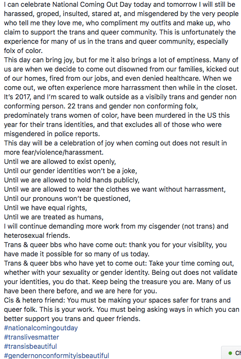 a #comingoutday post from an individual on Facebook.