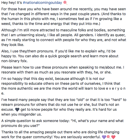 a screenshot of the text of my post for #comingoutday