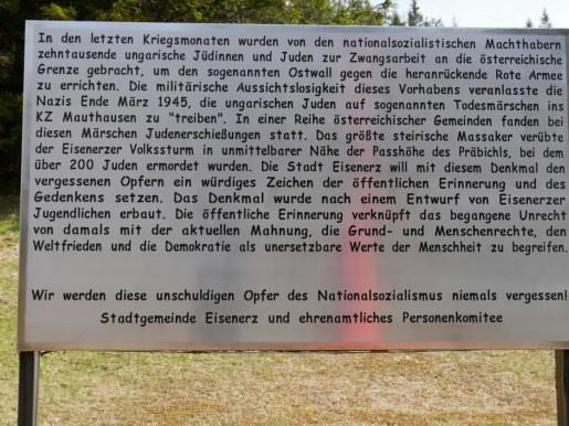 Gedenkstätte zum Todesmarsch in der NS-Zeit. Der letzte Satz hat heute besondere Brisanz.