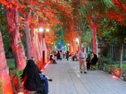 Illuminated park in Tehran.