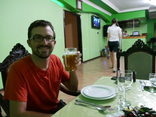 Russian restaurant in Turkmenabat. First real beer after 6 weeks Iran. // Russisches Restaurant in Turkmenabat. Erstes echte Bier nach 6 Wochen Iran.