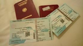 Our first class tickets to Jakarta.// Unsere Erste-Klasse-Tickets nach Jakarta.