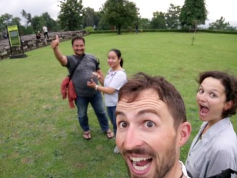 Mas Tuhu, Mbak Erika, Daniel, Antonia at Temple Ratu Boko.
