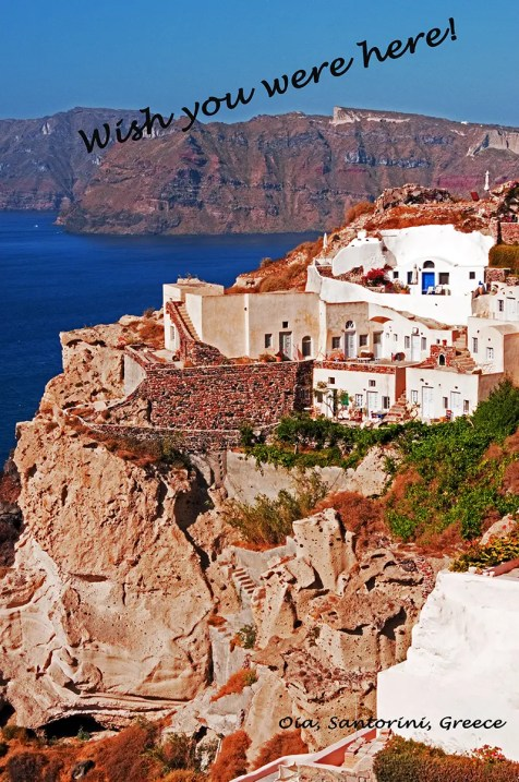 View of caldera, Aegean Sea and Thirasia Island, Oia, Santorini,