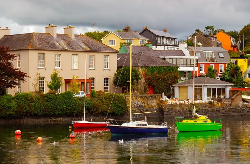 Colorful boats in Kinsale harbo