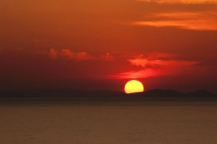 Sunset over Aegean Sea, Oia, Santorini, Greece