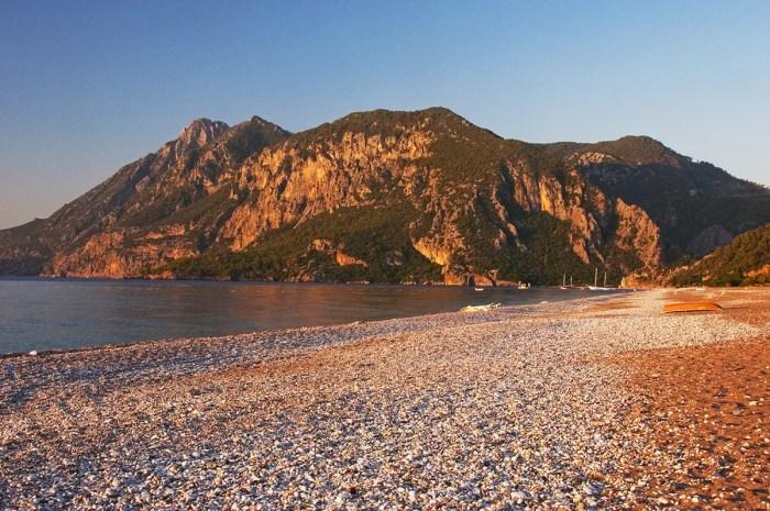 Beach and mountains at sunrise, Çirali, Turkey