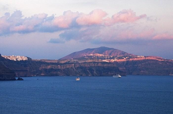 View of Santorini across Aegean Sea from Oia, Santorini, Greece