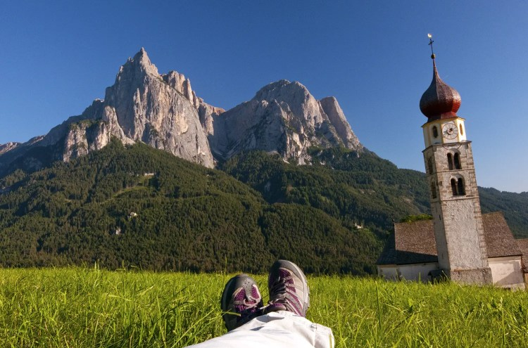 View of the Dolomites from meadow near Alpe di Siusi, Italy