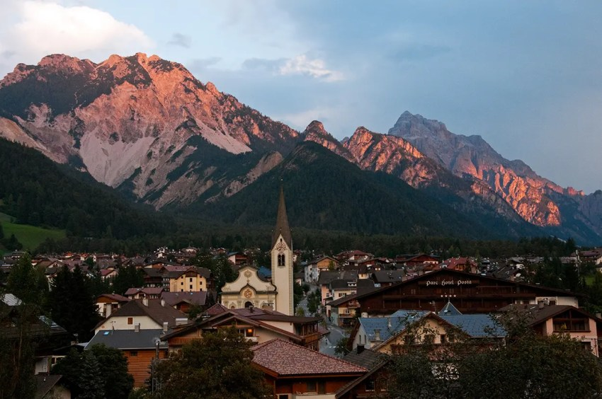 Mountains around San Vigilio di Marebbe at sunset