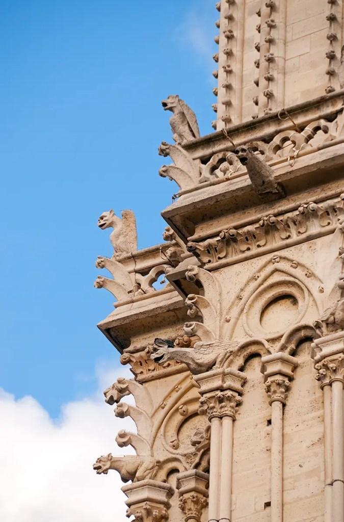 Gargoyles on façade of Notre Dame