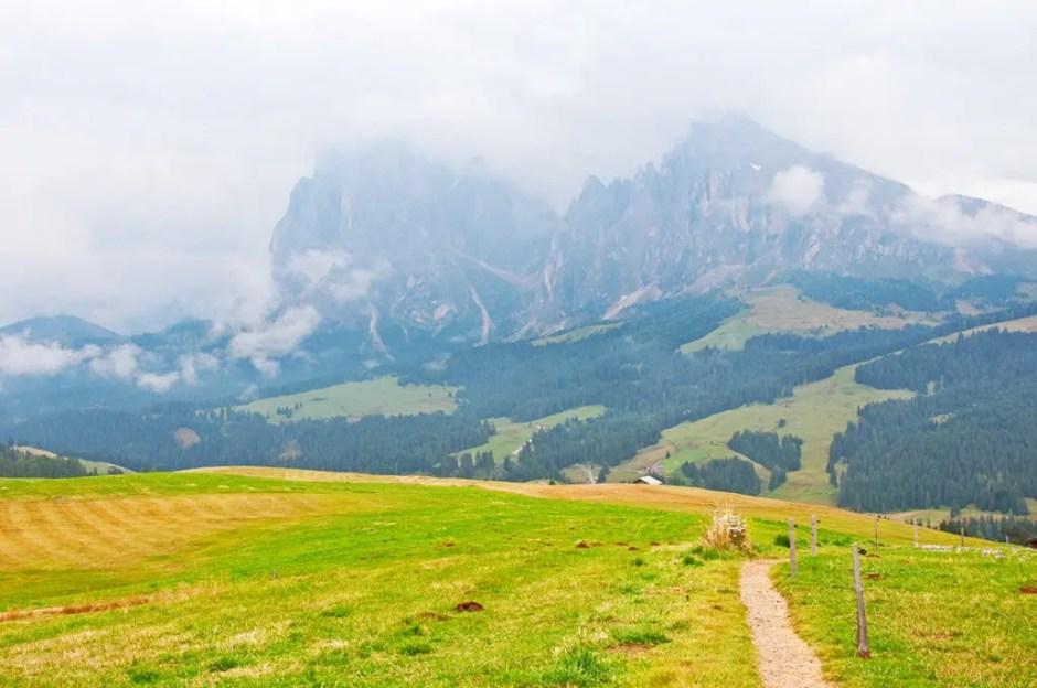 Trail, valley and Plattkofel/Sasso Piatto and Langkofel/Sasso Lungo, Italy