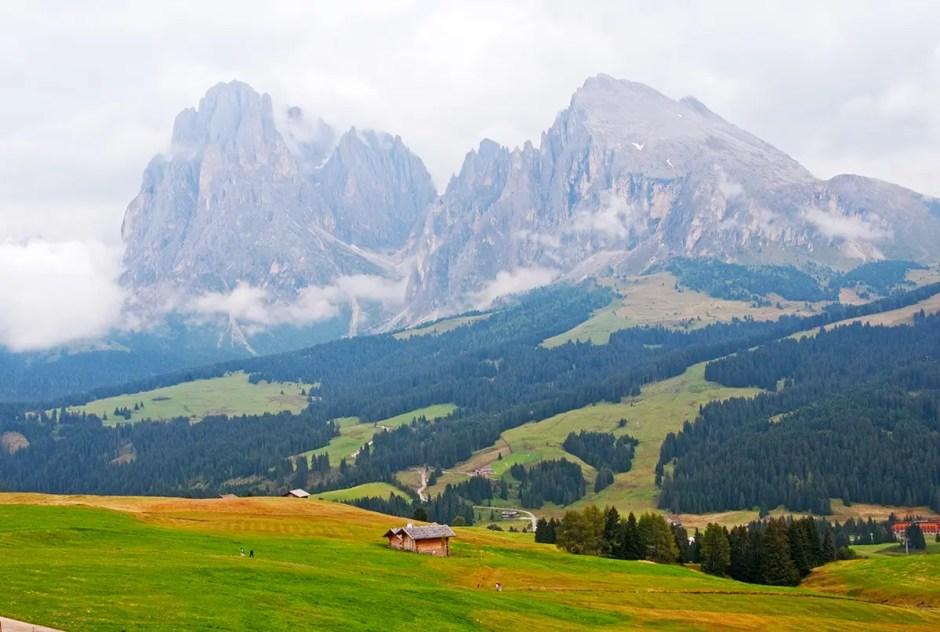 Valley and Plattkofel/Sasso Piatto and Langkofel/Sasso Lungo, Italy