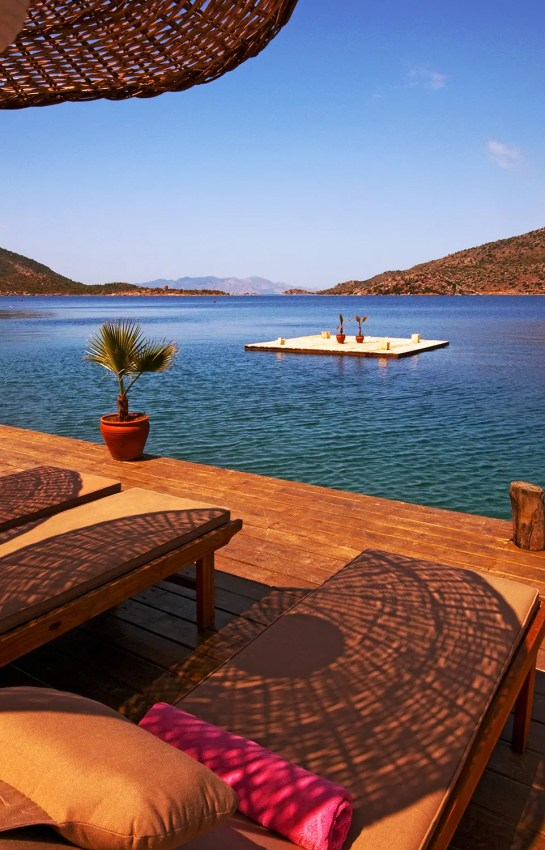 Looking across sun deck of Karia Bel' Hotel, Bozburun, Turkey