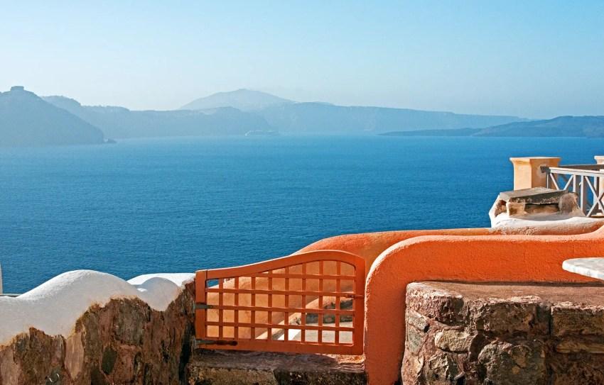 View of Aegean Sea and island of Santorini from cave house terrace, Oia, Santorini, Greece