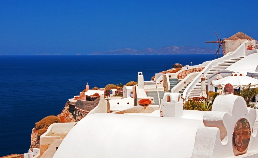 Caldera and Aegean Sea, Oia, Santorini, Greece