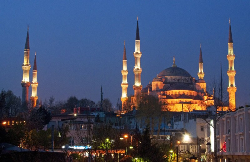 Blue Mosque from the terrace of the Erguvan Hotel, Istanbul, Turkey, night