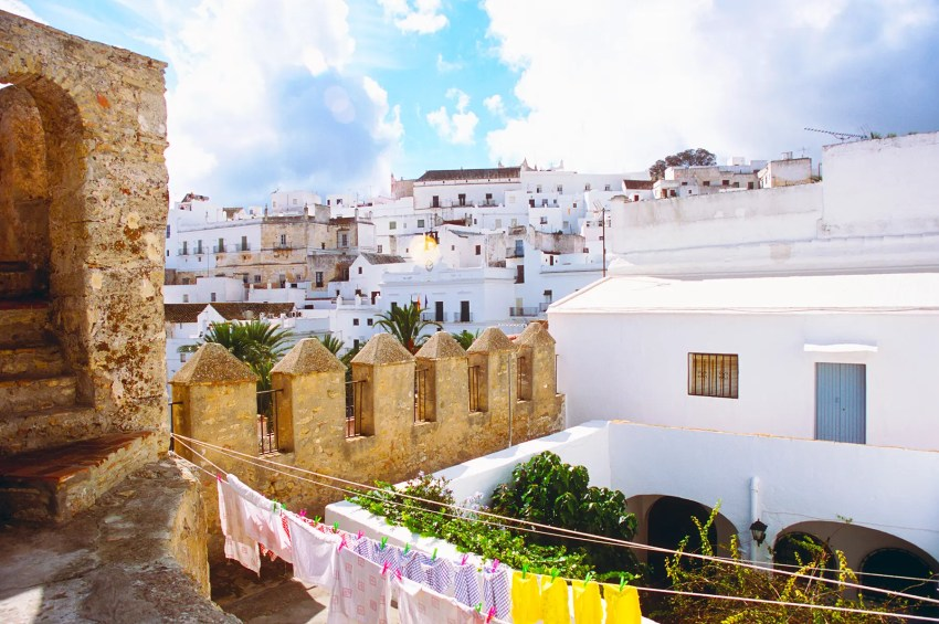 Looking across the rooftops of the walled town of Vejer de la Frontera, Andalucia, Spain