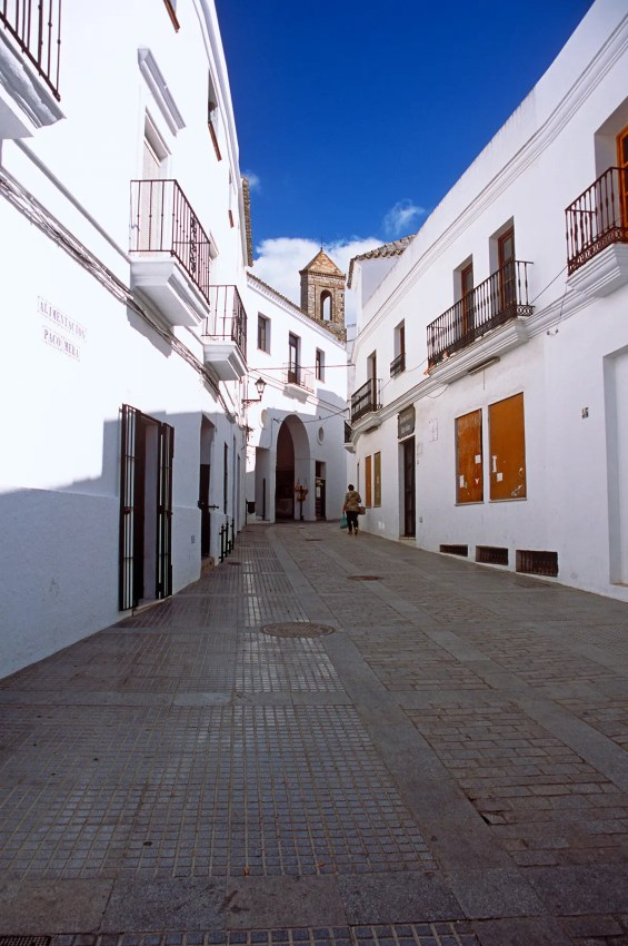 Street in Vejer de la Frontera on a sunny autumn day, Andalucia, Spain