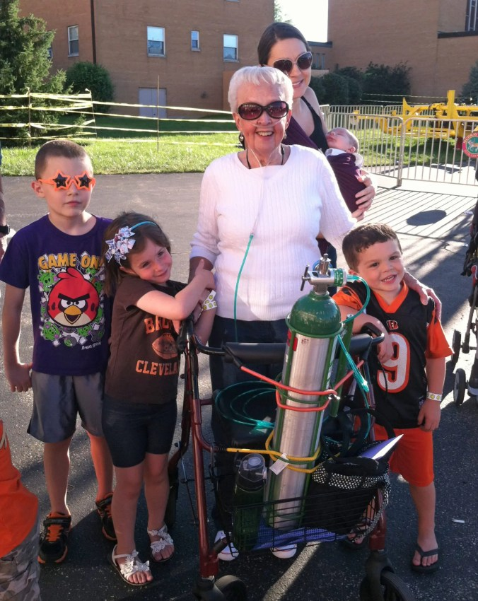 Mom on her 82nd birthday with most of her great grandchildren