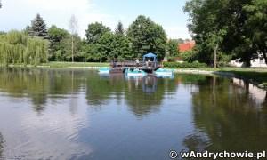 Rowerki wodne i łódki na stawie w parku w Andrychowie
