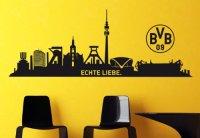 """Borussia Dortmund Wandtattoo Skyline Dortmund """"Echte Liebe"""