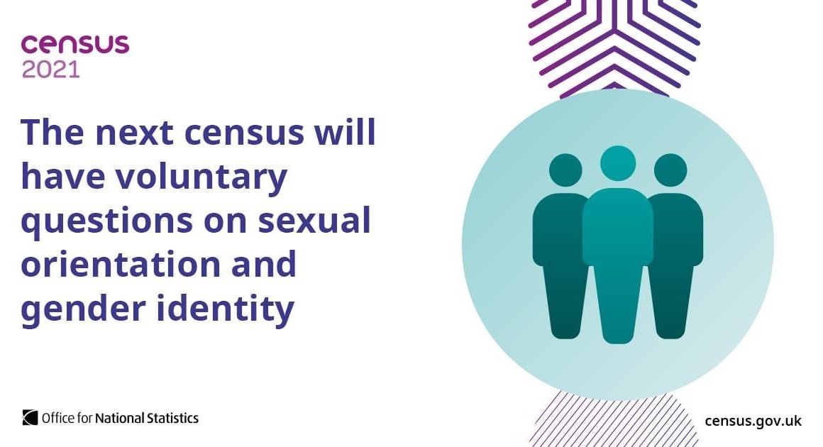 Poster with text saying 'The next census will have voluntary questions on sexual orientation and gender identity