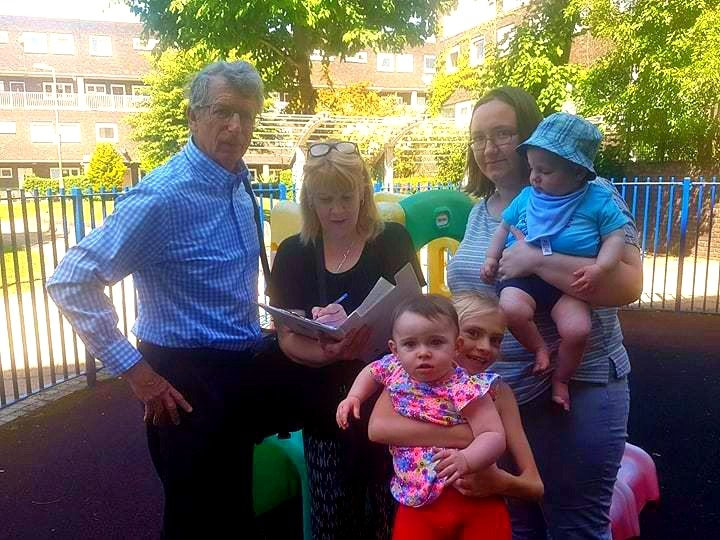 Cllr Jeremy Ambache campaigning with parents