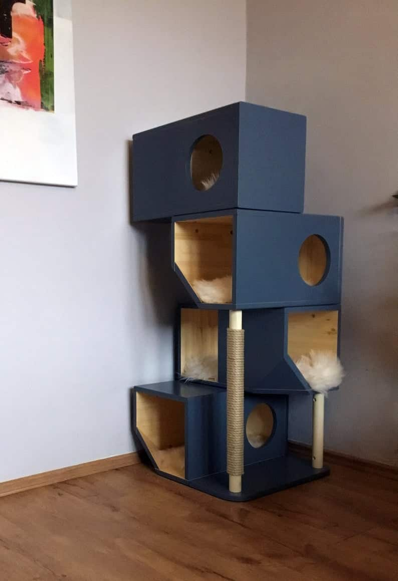 arbre a chat design cube couleur