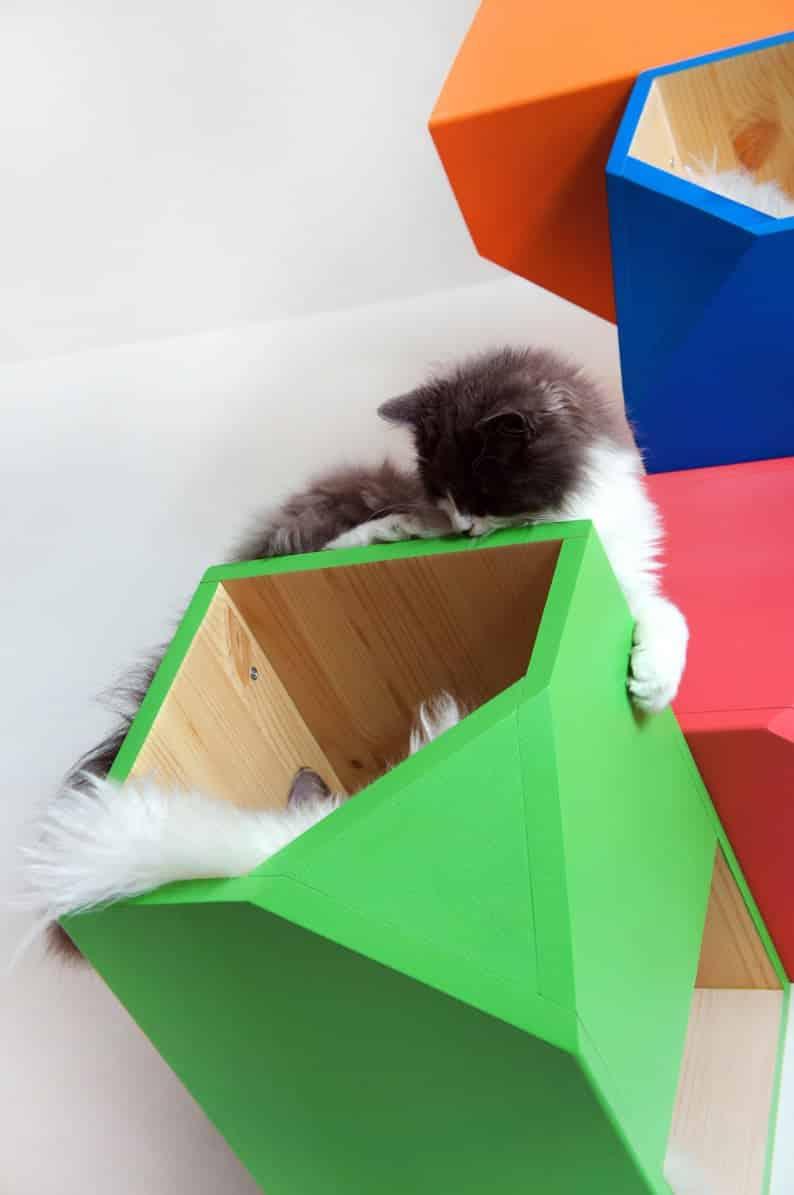 arbre a chat mural design hexagone cubique