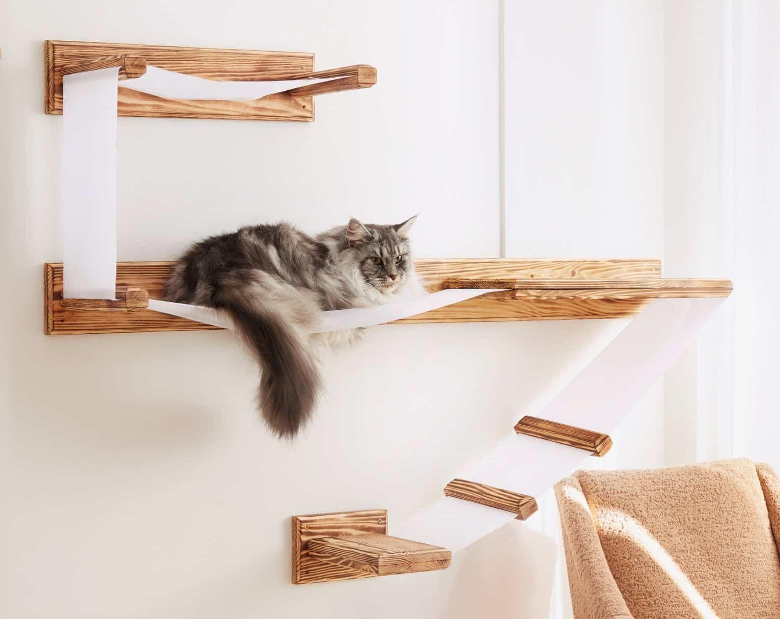 ensemble arbre a chat mural design lattes tissu plateformes