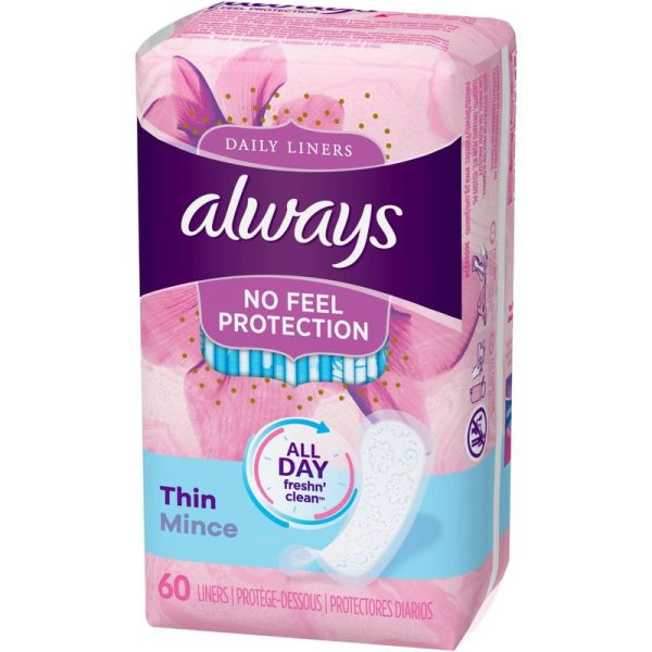 Always Thin Daily Liners Regular Absorbency No Feel UnScented Wrapped 60 Count