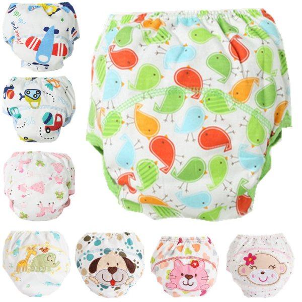 1Pcs Cute Baby Diapers Reusable Nappies Cloth Diaper Washable Infants Children Baby Cotton Training Pants Panties 7
