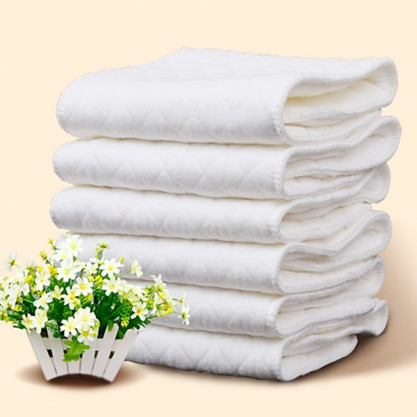 New Reusable baby Diapers Cloth Diaper Inserts 1 piece 3 Layer Insert 100 Cotton Washable babies 3