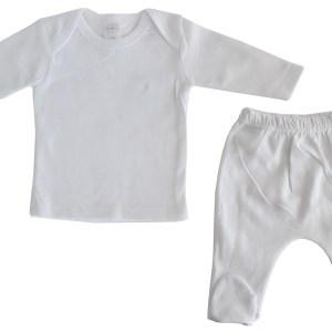 Bambini White Interlock Long Two Piece Set
