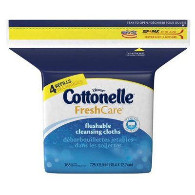 Cottonelle Flushable Personal Wipe Fresh Care Refill Pouch Aloe / Vitamin E Scented 168 Count - Case of 1344