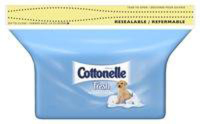 Cottonelle Flushable Personal Wipe Fresh Care Soft Pack Refill Water / Sodium Chloride / Sodium Benzoate Scented 42 Count - Case of 504