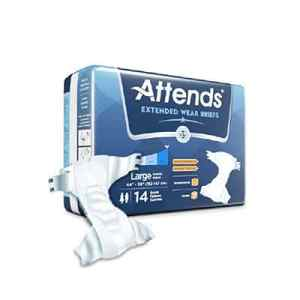 Attends Extended Wear Adult Incontinent Brief Tab Closure Heavy Absorbency Large - DDEW30 - 56/cs