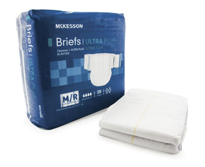 Adult Incontinent Brief McKesson Ultra Plus Stretch Tab Closure Medium Disposable Heavy Absorbency
