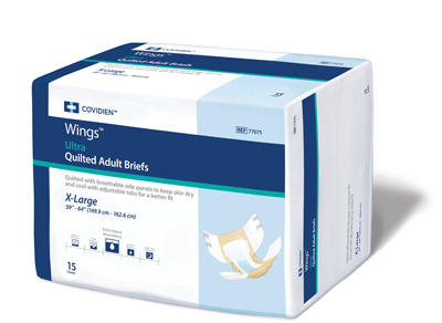 Covidien Wings Adult Incontinent Brief Ultra Tab Closure X-Large Disposable Heavy Absorbency - Covidien 77075 - Case of 60