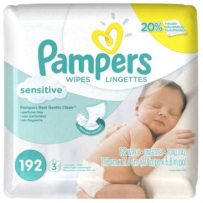 Pampers Wipes Sensitive Refills 3x -192ct/4pk