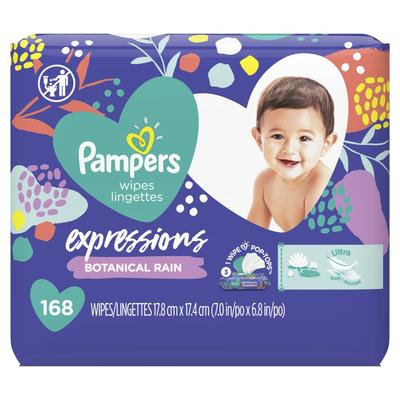 Pampers Baby Wipes Expressions Botanical Rain Scent 3X Pop-Top Packs -168ct/4pk