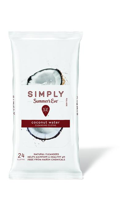 Summers Eve Simply Cleansing Cloths Soft Pack Coconut Water - 24ct/12pk