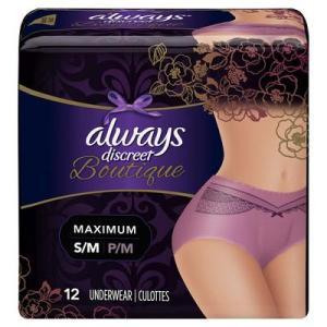 Always Discreet BTQ Undrwear Max Prtcton PRPL S/M - 12ct/2pk